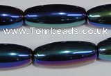 CAA859 15.5 inches 12*30mm rice AB-color black agate beads