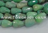CAB14 15.5 inches 8*12mm faceted teardrop green grass agate beads