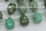 CAB24 15.5 inches 10*14mm faceted teardrop green grass agate beads