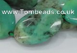 CAB43 15.5 inches 25*35mm faceted oval green grass agate beads