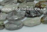 CAB573 15.5 inches 10*20mm wavy oval silver needle agate gemstone beads