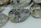 CAB575 15.5 inches 23*30mm wavy oval silver needle agate gemstone beads