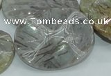 CAB576 15.5 inches 30*40mm wavy oval silver needle agate gemstone beads