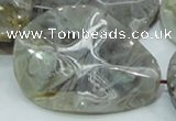 CAB578 15.5 inches 40*50mm wavy teardrop silver needle agate beads