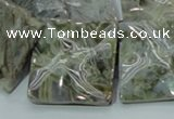 CAB586 15.5 inches 30*30mm wavy square silver needle agate beads