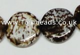 CAB629 15.5 inches 22mm flat round leopard skin agate beads wholesale