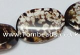 CAB634 15.5 inches 20*30mm twisted oval leopard skin agate beads