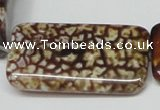 CAB642 15.5 inches 20*40mm rectangle leopard skin agate beads