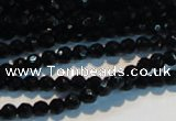 CAB782 15.5 inches 4mm faceted round black agate gemstone beads
