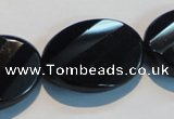 CAB816 15.5 inches 22*30mm faceted & twisted oval black agate beads