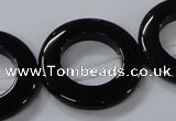 CAB857 15.5 inches 30mm donut black agate gemstone beads wholesale
