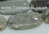 CAB92 15.5 inches 20*40mm oval silver needle agate gemstone beads