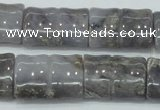 CAB930 15.5 inches 18*25mm flat bamboo natural purple agate beads