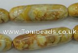 CAB939 15.5 inches 13*40mm rice yellow crazy lace agate beads wholesale