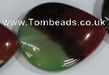 CAG1031 15.5 inches 40*50mm flat teardrop rainbow agate beads