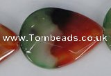 CAG1072 15.5 inches 30*40mm faceted flat teardrop rainbow agate beads