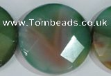 CAG1088 15.5 inches 40mm faceted coin rainbow agate beads