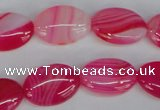 CAG1174 15.5 inches 13*18mm oval line agate gemstone beads