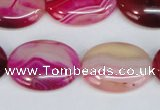 CAG1177 15.5 inches 18*25mm oval line agate gemstone beads