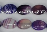 CAG1205 15.5 inches 10*14mm oval line agate gemstone beads
