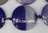 CAG1250 15.5 inches 30mm flat teardrop line agate gemstone beads