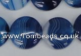 CAG1278 15.5 inches 20mm flat round line agate gemstone beads