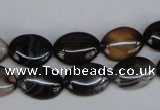 CAG1312 15.5 inches 10*14mm oval line agate gemstone beads
