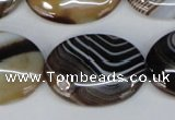 CAG1317 15.5 inches 22*30mm oval line agate gemstone beads