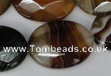 CAG1368 15.5 inches 22*30mm faceted oval line agate gemstone beads