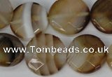 CAG1378 15.5 inches 20mm faceted coin line agate gemstone beads