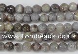 CAG1421 15.5 inches 6mm faceted round silver needle agate beads
