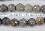 CAG1423 15.5 inches 10mm faceted round silver needle agate beads
