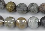 CAG1425 15.5 inches 14mm faceted round silver needle agate beads