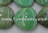 CAG1612 15.5 inches 30*30mm heart green grass agate beads