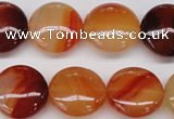 CAG1650 15.5 inches 20mm flat round red agate gemstone beads