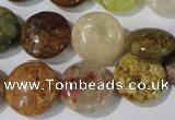CAG1726 15.5 inches 15mm flat round rainbow agate beads wholesale
