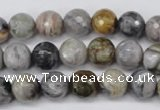 CAG1750 15.5 inches 8mm faceted round silver needle agate beads
