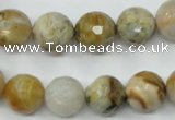 CAG1834 15.5 inches 12mm faceted round bamboo leaf agate beads