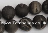 CAG1849 15.5 inches 16mm round matte druzy agate beads whholesale