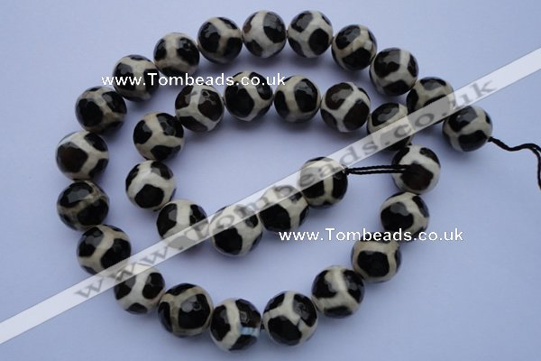 CAG1873 15.5 inches 12mm faceted round tibetan agate beads wholesale