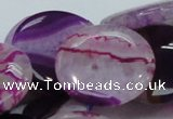 CAG201 15.5 inches 30mm flat round purple agate gemstone beads