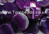 CAG203 15.5 inches 20mm faceted coin purple agate gemstone beads