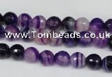 CAG2095 15.5 inches 8mm faceted round purple line agate beads