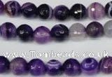 CAG2096 15.5 inches 10mm faceted round purple line agate beads
