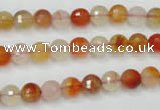 CAG2381 15.5 inches 6mm faceted round red agate beads wholesale