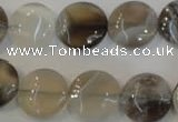 CAG2436 15.5 inches 14mm flat round Chinese botswana agate beads
