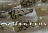 CAG254 15.5 inches 13*26mm teardrop dragon veins agate beads