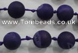 CAG2802 15.5 inches 12mm round matte druzy agate beads whholesale