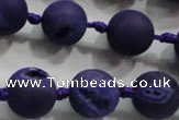 CAG2804 15.5 inches 14mm round matte druzy agate beads whholesale