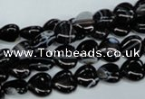CAG2902 15.5 inches 8*8mm heart black line agate beads